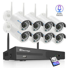 Techage 8CH 1080P H.265 Wireless NVR 2.0MP Wifi IP Camera CCTV Security System