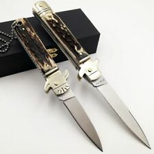 Italian Mafia Folding knife D2 Blade Natural Antler Handle Pocket Camping Knives