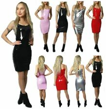 Womens Ladies Girls Shiny Vinyl PU Leather Cami Strappy Club Party Dress