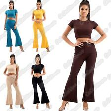 Ladies Short Sleeve Ribbed Crop Top Flared Trouser Pants Co-Ord 2 Pcs Suit 8-14