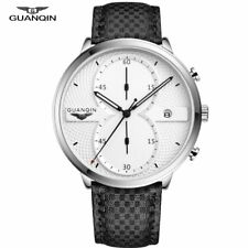 GUANQIN Mens Watches Quartz Men Top Brand Luxury Chronograph Male Sport Leather