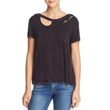 Vintage Havana Womens Stay Golden Embroidered Cut-Out T-Shirt Top BHFO 3775