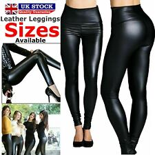 Ladies High Waist Black Faux Leather Leggings Size 6 - 20  Wet Look Tight Pant