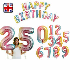 """32""""inch Rainbow 0-9 Number Age Aluminum Balloon Large number Birthday Decorate"""