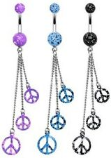 PEACE SIGN - Dangle Belly Bar  - Choose Colour & Length: 6mm 8mm 10mm 12mm 14mm