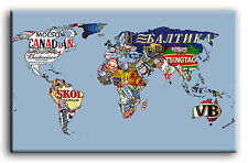 PREMIUM CANVAS ART Beer Map of the World *MANY SIZES*
