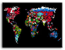 PREMIUM CANVAS ART Flags Map of the World *MANY SIZES*