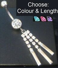 Dangle Belly Bar with 3 Crystal Dangles - Choose Colour - 6mm 8mm 10mm 12mm 14mm