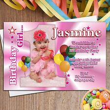 Personalised Girls First 1st Birthday Party PHOTO Invitations Invites ~ N21