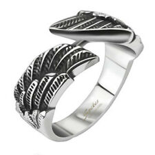 316L Stainless Steel Conjoining Angel Wings Band Ring Size 6-11