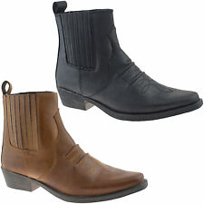 MENS GRINGOS COWBOY LEATHER ANKLE BOOTS SIZE UK 6 - 12 BLACK OR BROWN M841 KD