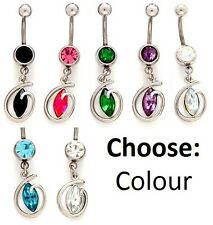 Oval Gem Dangle Belly Bar -Choose Crystal Colour- Clear Pink Aqua Purple  SALE !