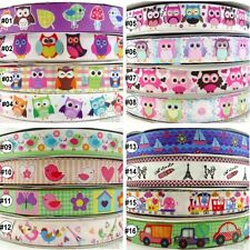 "2Yard 10Yard 100Yard Kawaii Owl Birds Cartoon Grosgrain Ribbon Craft 22mm(7/8"")"
