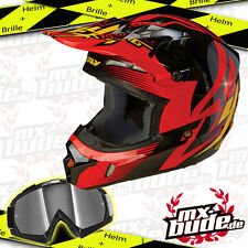 Fly Kinetic Inversion Motocross Helm rot-schwarz + MX-Bude MX-2 Brille