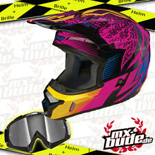 Fly Kinetic Inversion Motocross Helm wild + MX-Bude MX-2 Brille Motocross