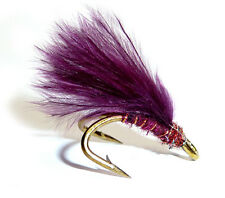 3x or 6x CLARET HOT HEAD (MJD14)  WEE DOUBLE Trout, Sea Trout & Salmon Flies