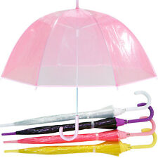 "Ladies 23/"" Dome Brolly Umbrella Border Design and Hook Handle Various Colours"