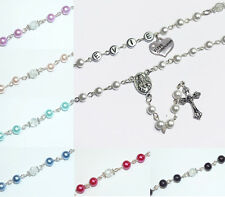 Girls Boys Personalised Christening First Communion Rosary Beads Keepsake Gift
