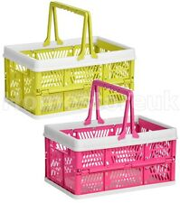 FOLDING STORAGE BASKET PLASTIC WITH HANDLE FOR PEGS BOX FRUIT VEGETABLE KITCHEN