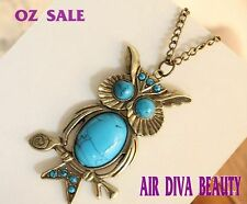 1pc Women Retro Vintage Blue Turquoise Owl Dragonfly Long Chain Necklace Pendant