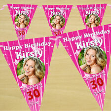 Personalised 30th 40th 50th 60th Birthday Party PHOTO Flag Banner Bunting - N26