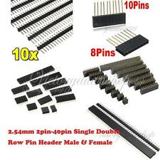 1/10pcs 2.54mm 2pin-40pin Single Double Row Short Long Pin Header Male & Female