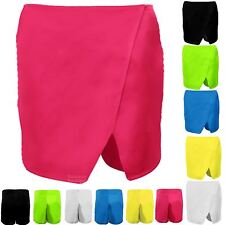 Ladies Wrap Wet Look Plain Women's Party Casual Mini Skirt Shorts Culottes Skort