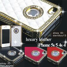 NEW LUXURY LEATHER DIAMOND GLITTER BLING BACK COVER CASE FOR iPHONE 4 / 4S 5 /5S