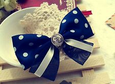 Girls Kids School Office Navy Marine Bow Ribbon Ponytail Hair Band Holder Clip