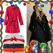 LADIES WOMEN WOOL JACKET MILITARY TRENCH BELTED POCKET COAT BLEND STYLISH FOR UK