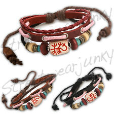 ★Leder Armband Surfer Vintage Tibet Style Leather Bracelet Beach Party Neu B302★