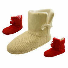 Ladies Red Furry Cream Knitted Slipper Boots Cheap Christmas Present Slippers