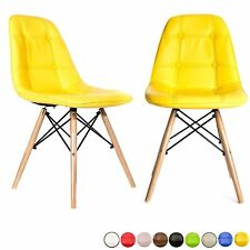 2x Dining Office Retro Style Chair Wooden Legs Office Furniture Pair Vanity Seat
