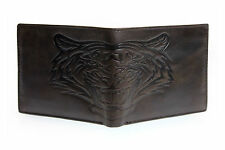 New Mens Unique TIGER Embossed Trifold 12 Credit Card Brown Leather Wallet