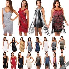 Womens Vintage 20s Flapper Fringe Sequin Deco Swing Bodycon Dress Party All Size