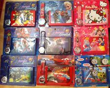 INFANTIL SET RELOJ CARTERA MONEDERO CONGELADA MARIO HELLO KITTY SPIDERMAN