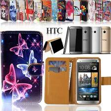 Folio Flip Wallet Card Stand Magnetic Leather Case Cover For HTC Phones + strap
