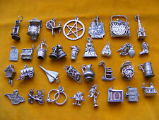 TT VINTAGE STERLING SILVER CHARM WELL BELLS PIANO GOLF CLOCK CAT RINGS BIBLE BAG