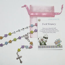 Baby Child Personalised Acrylic Daisy Flower FIRST ROSARY Beads Christening Gift