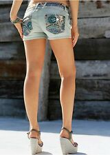 Sexy Jeans Shorts Pailletten Hot Pants kurze Hose 40 44 bleached Wow