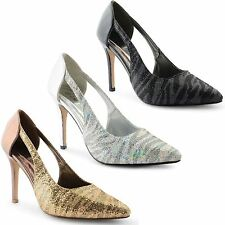 Womens Ladies Stiletto High Heel Bridal Wedding Prom Party Court Glitter Shoes
