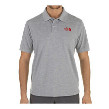 THE NORTH FACE MEN'S POLO PIQUET SHIRT / HEATHER GREY - TNF RED / GRAU MELANGE