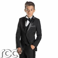 Negro De Niño Esmoquin, Corte Slim Smoking Traje, Paisley of London Suit