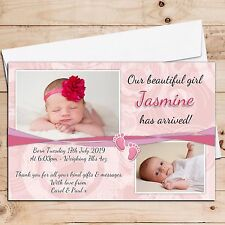 Personalised Cute New Baby Girl Birth Announcement PHOTO Cards N37