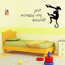 JUST MONKEY-ING AROUND wall quote kids bedroom nursery wall decal