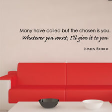 JUSTIN BEIBER lyrics wall stickers bedroom teens music fun wall decal