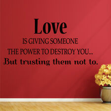 POWER OF LOVE quote wall sticker living room bedroom vinyl wall decal