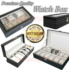Premium PU Leather Watch Jewelry Display & Storage Box Case (6 or 12 Slots)