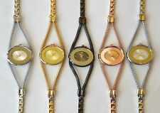 NEW-GENEVA SILVER+ROSE,GOLD+BLACK METAL+MESH BAND OVAL DIAL CRYSTAL WATCH-4595
