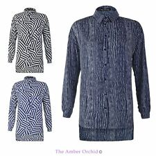 WOMENS NEW LADIES MIXED STRIPE CHIFFON SHIRT LONG SLEEVE OVERSIZED BLOUSE 8-16